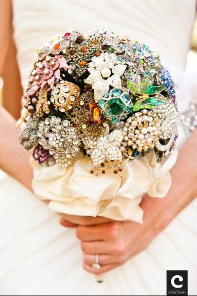 broaches- have everyone bring one to the bridal shower... I like this!