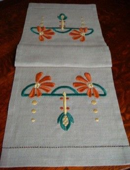 Hand Embroidered Table Runner, Arts and Crafts, Craftsman Style, Cone Flower. By Natalie Richard at Paint By Thread $295.00, via Etsy.