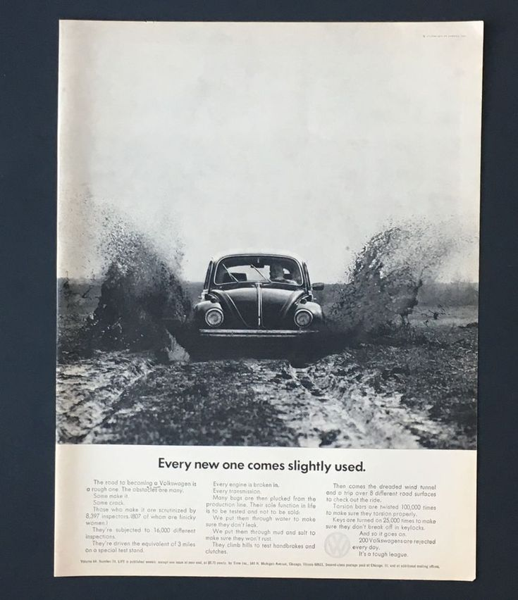 1968 Volkswagen Beetle Bug Advertisement VW New Come Slightly Used Print AD #volkswagenvintagecars