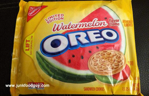Limited Edition Watermelon Golden Oreos.....the Junk Food Guy likes them :)