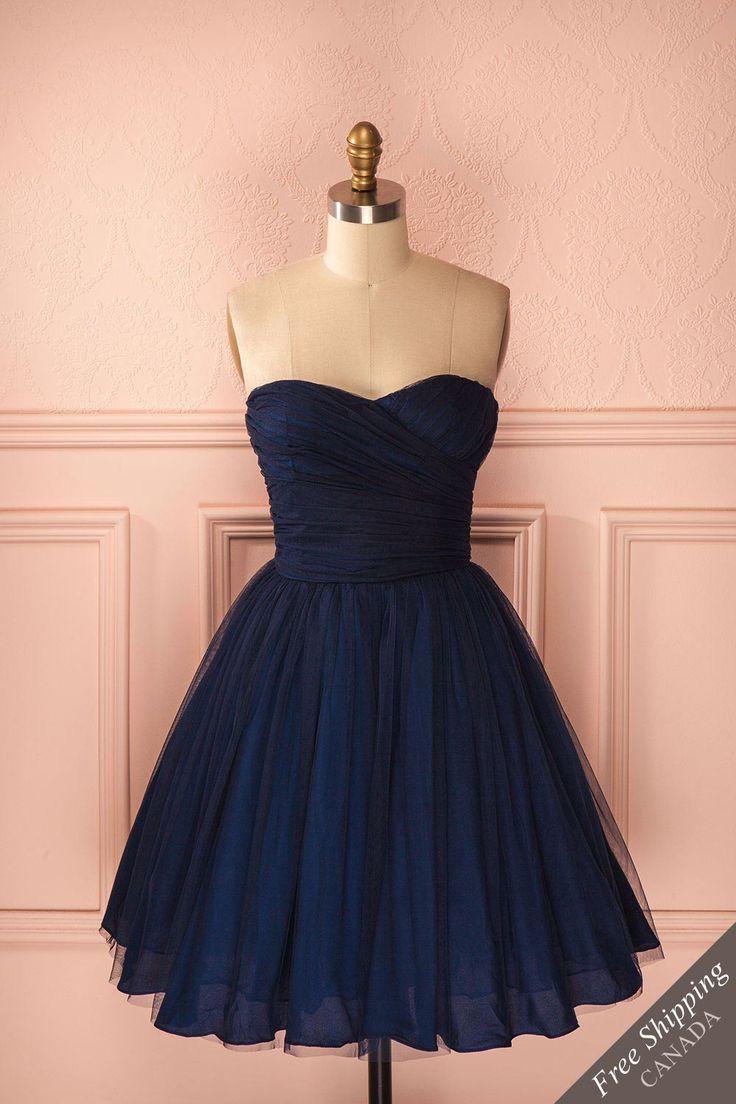 Robe bustier bleu marine en tulle sans manches - Navy blue tulle sleeveless dress