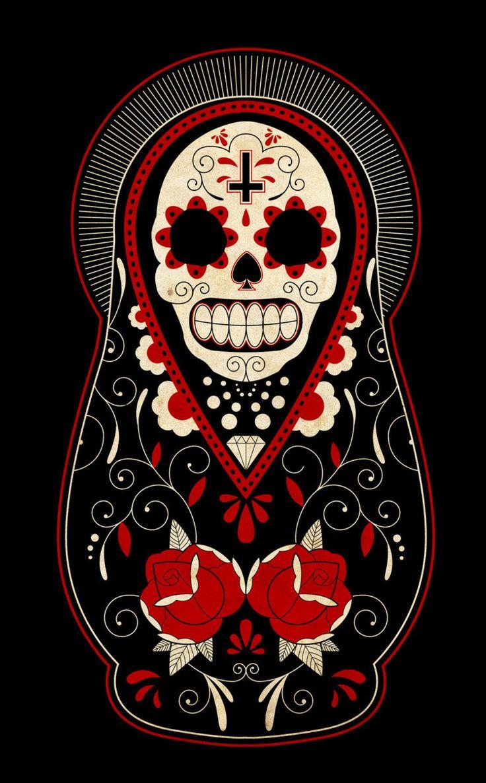 day of the dead matryoshka?Tattoo Ideas, Russian Dolls, Feet Tattoo, Sugar Skull, Of The, Holy Death, Nests Dolls, Dead, Day