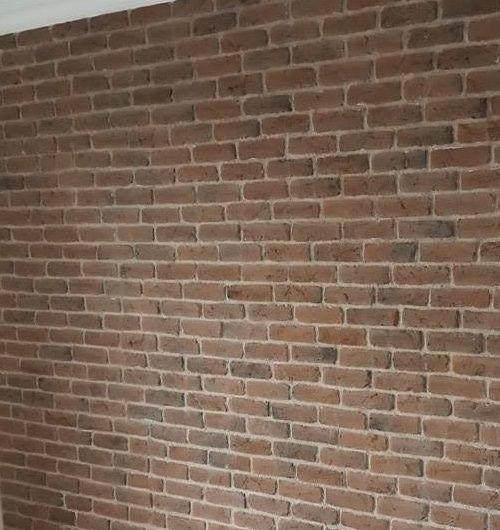 Living Room Feature Wall using Chicago Rojo Brick Slips