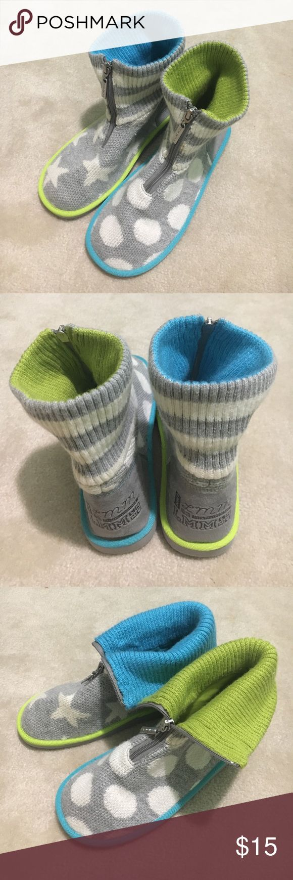 Little Miss Matched Sweater boot slippers Brand new, never worn sweater boot slippers by Little Miss Matched. Can be worn zipped up or folded over. Fits size 7-8. Little Miss Matched Shoes Slippers