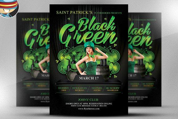 St. Paddy's Day Black & Green Flyer by FlyerHeroes on @creativemarket