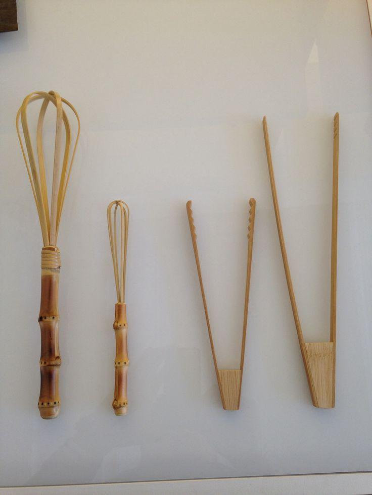 Bamboo tongs and whisks by Kochosai Kosuga