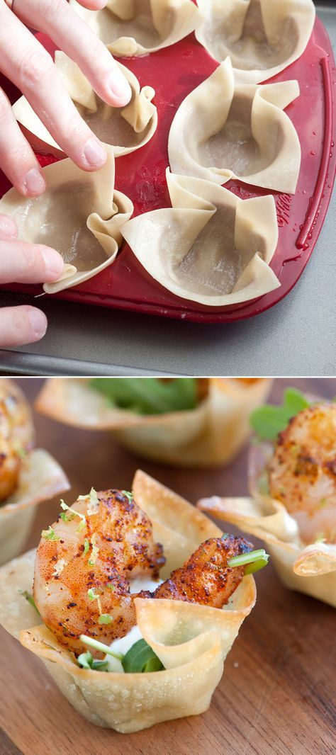 Chili Lime Shrimp Cups - These mini cups are perfect to serve at a party and are great warm or cold. You can make the wonton shells a day in advance; just keep at room temperature in an airtight container. From http://inspiredtaste.net | @inspiredtaste #shrimp #appetizer
