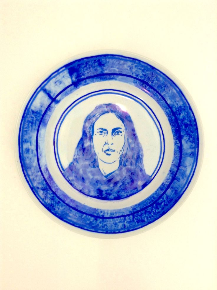 AS Fine Art and History of Art student, Molly - set of portraits on found plates.