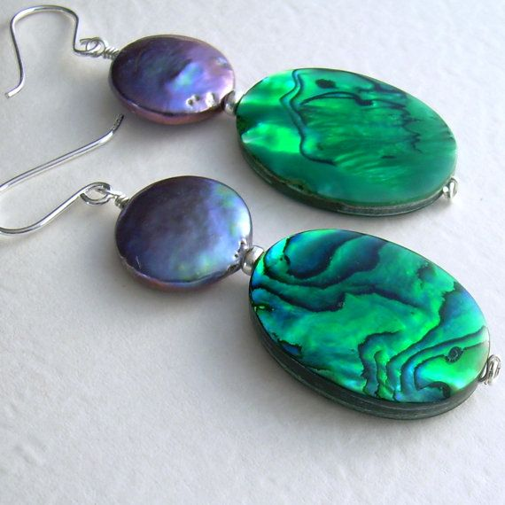 Emerald Green Abalone Earrings Peacock Coin Pearls