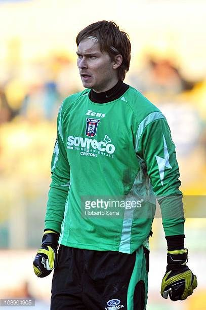 Vid Belec goalkeeper of FC Crotone looks on during the Serie B match between Modena FC and FC Crotone at Alberto Braglia Stadium on February 5 2011...
