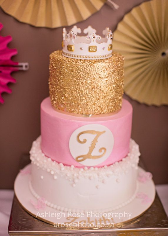 Gold And Pink 3 Tier Cake With Crown Birthday Cakes