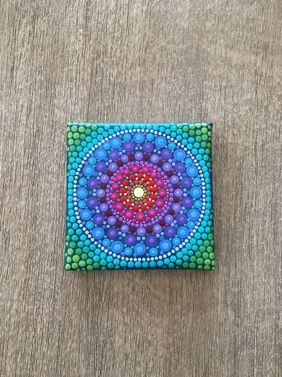 Small canvas painting Acrylic painting  Mandala art  Mini