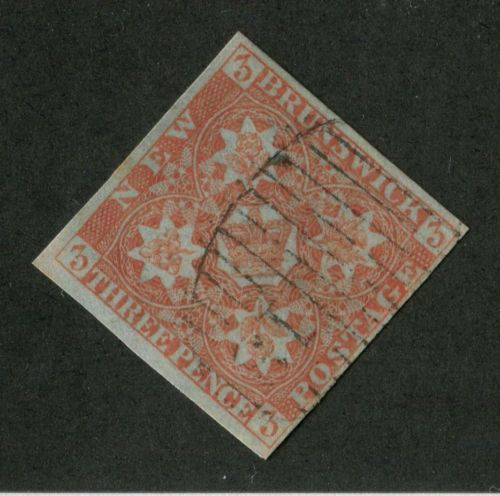 New-Brunswick-1-3d-Dull-Red-1851-Heraldic-Crown-and-Flowers-VF-81-Used