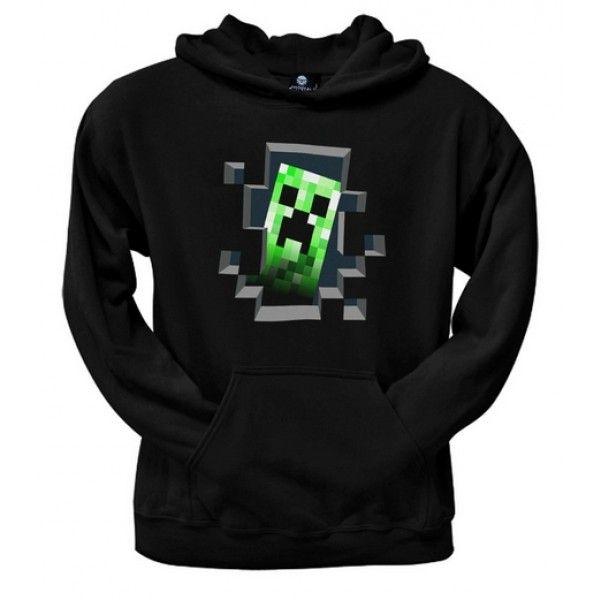 Minecraft hættetrøje i voksen størrelse med Creeper motiv