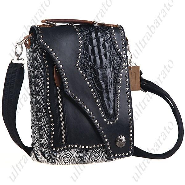 Personalized Crocodile Skin Patterned Studs Reinforced Hard Flip Rectangular Shoulder Bag for Men Boys Gentlemen ($47.69)