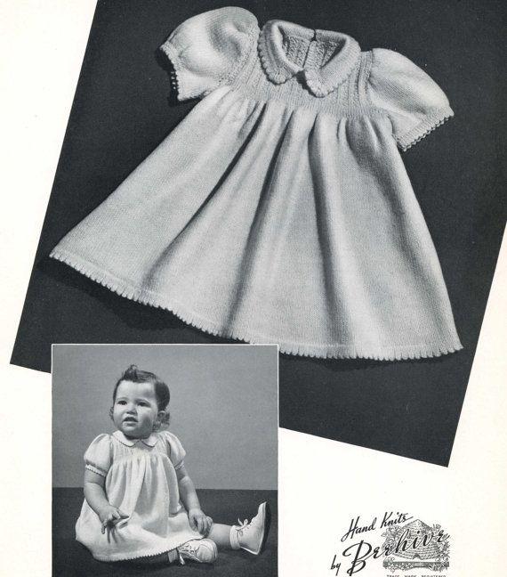 Vintage Knitting PATTERN B1 550 Knit baby dress size 1 2 3 1950s PDF file instant download
