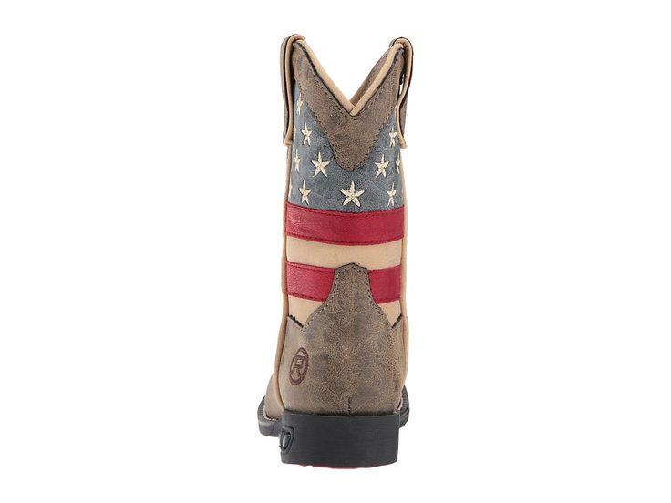 Roper Kids Patriot (Toddler/Little Kid) Cowboy Boots Faux Leather Vamp Stars & Stripes Shaft