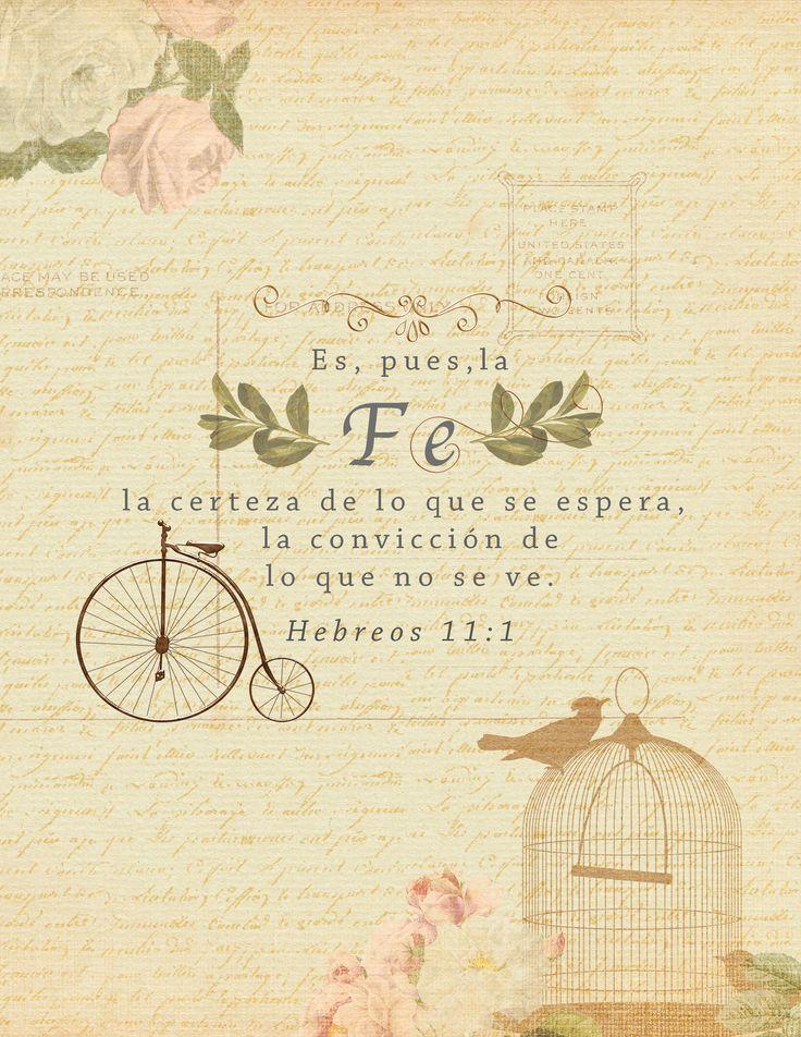 Hebreos 11:1-3 Es, pues, la fe la certeza de lo que se espera, la convicción de lo que no se ve. Porque por ella alcanzaron buen testimonio los antiguos. Por la fe entendemos haber sido constituido el universo por la palabra de Dios, de modo que lo que se ve fue hecho de lo que no se veía.♔