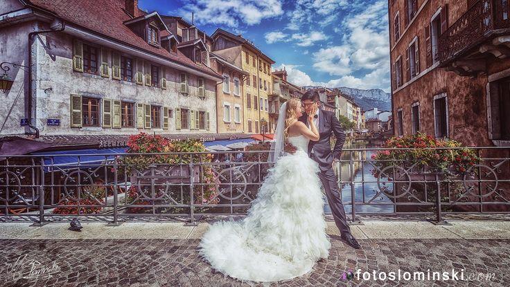 #ZdjęciaSłomińskiego - #Fotografia ślubna #sesja ślubna #Francja - #Annecy Malownicza miejscowość www.fotoslominski.pl