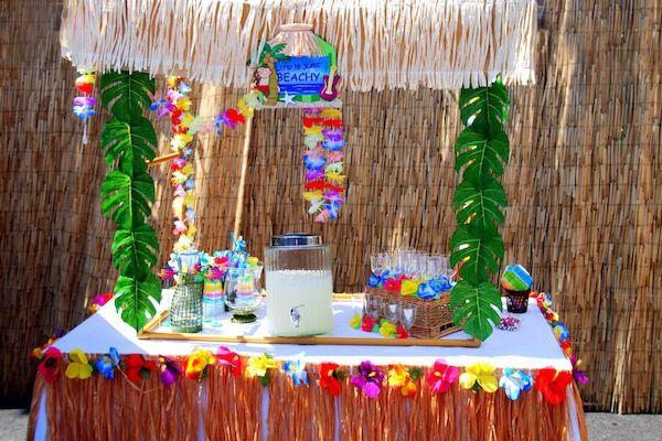 Luau Beach Surf Swim Pool party idea decor supplies planning food table