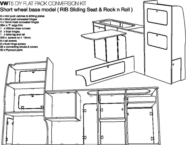 65 best vw t5 interior images on pinterest campsite for Campervan furniture plans