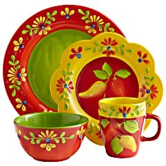 """We named the collection """"Flores""""—Spanish for """"flowers""""—because the translation for """"hand-painted earthenware designs that add brilliant global color to your table"""" was simply too long. Just as well. These pieces have universal appeal. Covered with blooms and sculptural details, they're fun, bright, easy to mix with our Flores Serveware and, best of all, dishwasher-safe. At Pier One Imports"""