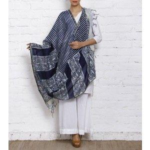 Indigo Block Printed Cotton Silk Dupatta
