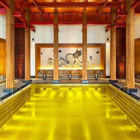 """The Tibetan dreamy! #dreamyspas  Iridium  spa    Hotel:  St Regis Lhasa resort @stregishotels   Location:  Lhasa China   Beautiful pic  by: @maria_travelandream   Don't miss:  The """"Fire Cupping & Golden Moxa"""" with Tibet's traditional #massage techniques promotes healing on physical & spiritual levels!   Treat rooms:  6 with traditional warm wood colors & view of the gardens   Traditional Tibetan herbal treatments   Indoor Gold Energy  heated #pool with 24-Karat gold leaves & amazing view of…"""