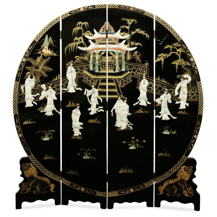 Mother Of Pearl Inlay Wooden Mini Folding Screen Asian: 72in Black Lacquer Mother Of Pearl Motif Floor Screen