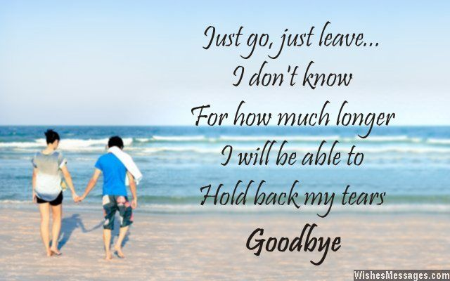 Just go, just leave… I don't know for how much longer I will be able to hold back my tears. Goodbye. via WishesMessages.com