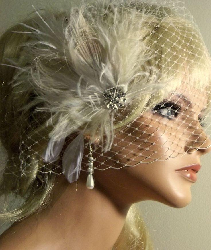 Wedding IVORY Feather Bridal Fascinator Hair Clip Birdcage Bridal Veil 2pc set  #kathyjohnson