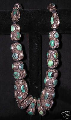 Vintage Tibetan inlaid turquoise and silver necklace