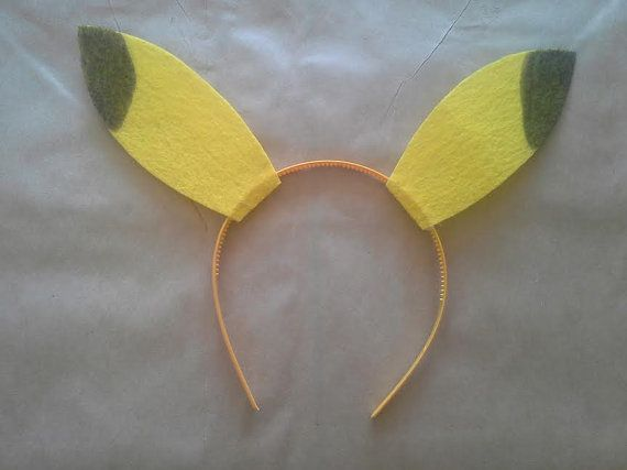 these pikachu ears are made with 2 yellow pieces of stiff felt glued to a headband wrapped in yellow ribbon. They are awesome for kids