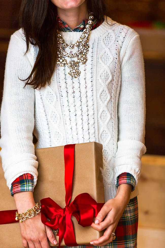 Festive holiday style - cable knit sweater, plaid shirt and crystal statement necklaces