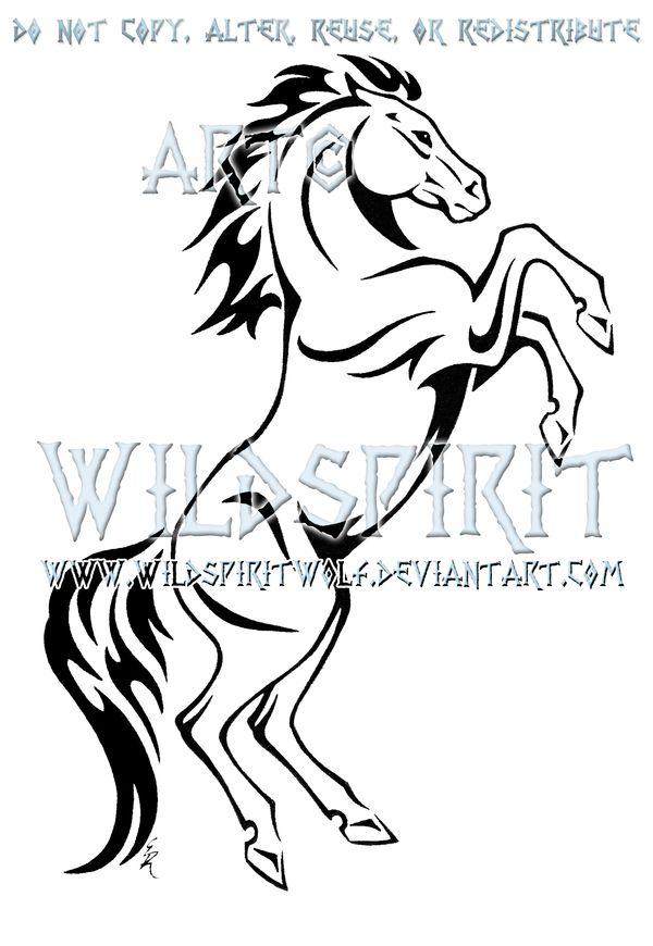 Rearing Horse Tribal Design by *WildSpiritWolf on deviantART