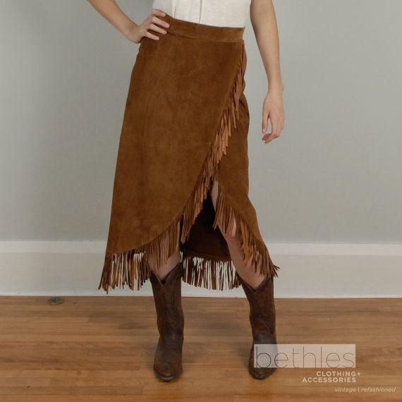 1980s Skirt Suede Skirt Fringe Skirt Cowgirl Skirt ...
