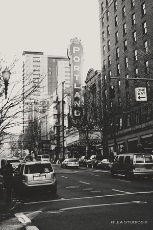 Black and White Photograph of Downtown Portland, Oregon by Blea Studios.