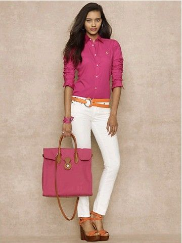 Polo Ralph Lauren Shirts Women Slim Fit Oxford Fuschia
