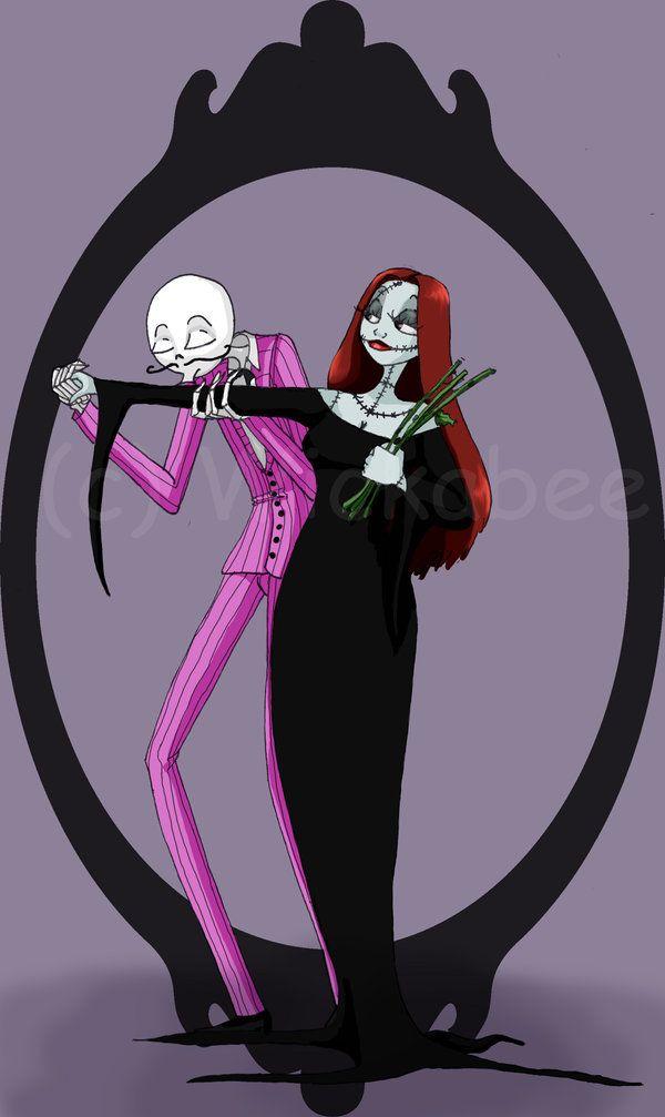 Jack & Sally as Mortisha & Gomez Addams. LOVE THIS<3 #NightmareBeforeChristmas #JackAndSally #MortishaAndGomez