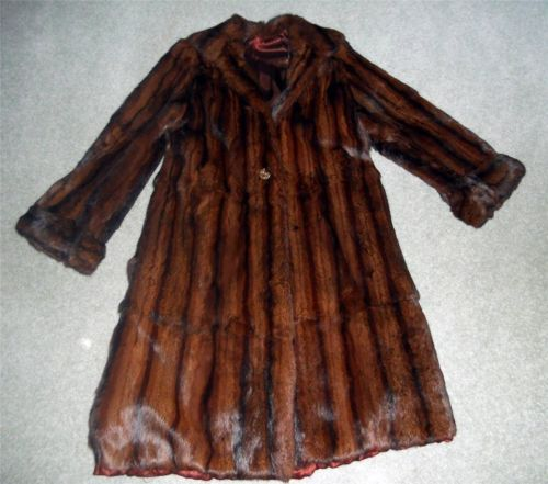 BEAUTIFUL Vintage 1940's Long MINK FUR COAT Big Buttons S/M ...