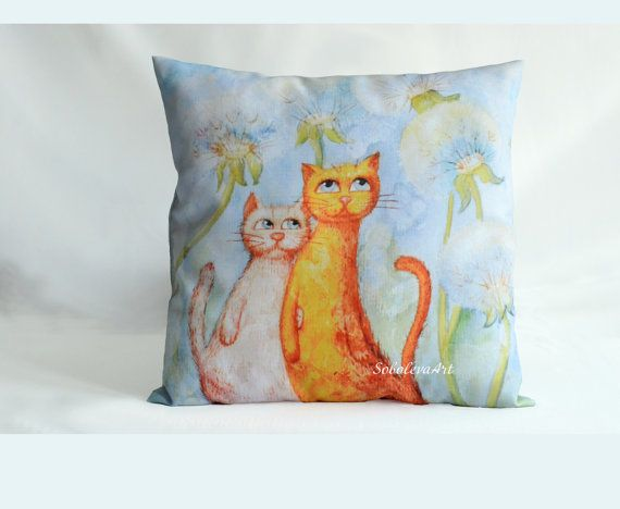 Cushion Cover Сats in the  blowball Throw Pillow by SobolevaArt