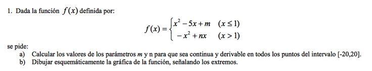 Ejercicio 1A 2001-2002 Setiembre. Propuesto en examen pau de Canarias. Matemática. Continuidad, derivabilidad y representación de funciones. Límites.