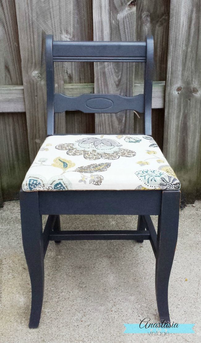Painted Refinished Vintage Chair Dark Grey Graphite Chalk Paint Upholstered