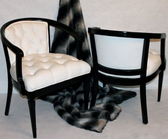 SOLD CAN REPLICATE Pair of Vintage White Velvet di Element20
