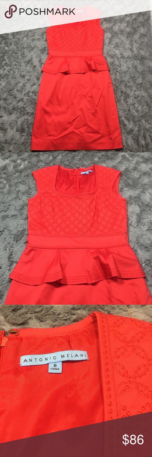 Antonio Melani Red Peplum Dress Red Peplum dress with beautiful embroidered bodice detail ANTONIO MELANI Dresses Midi