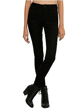 "<p>Super skinny and high waisted. What more do you need when it comes to jeans? Oh yeah, these are black.</p><ul>	<li>10 1/2"" leg opening</li>	<li>70% cotton; 28% polyester; 2% spandex</li>	<li>Wash cold; dry low</li>	<li>Imported</li></ul>"
