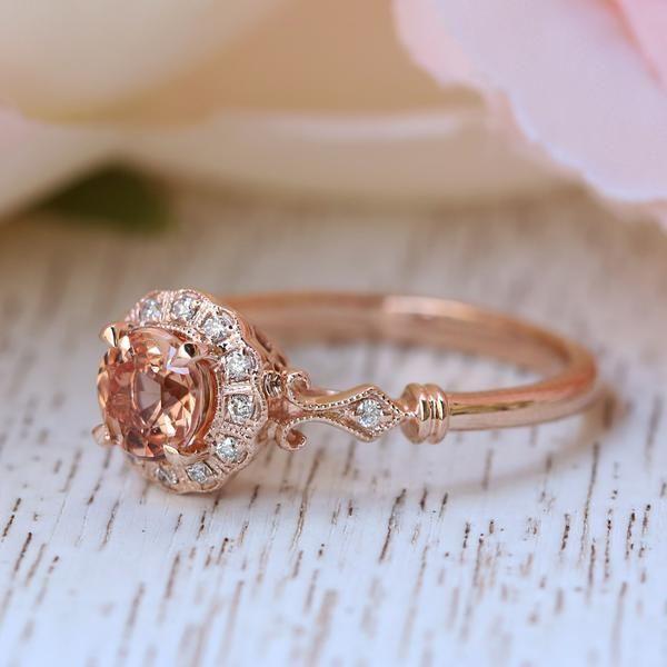 Princess Bride Diamonds   Huntington Beach   The 14K Rose Gold Round Peach Sapphire Engagement Ring