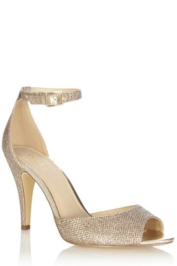 These stylish heels feature a glitter effect across the fabric and a peeptoe finish.
