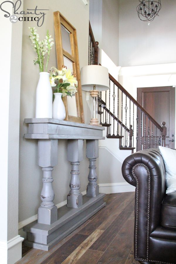 How to build a console table with 3 table legs and some wood. Free plans included. Love this idea!