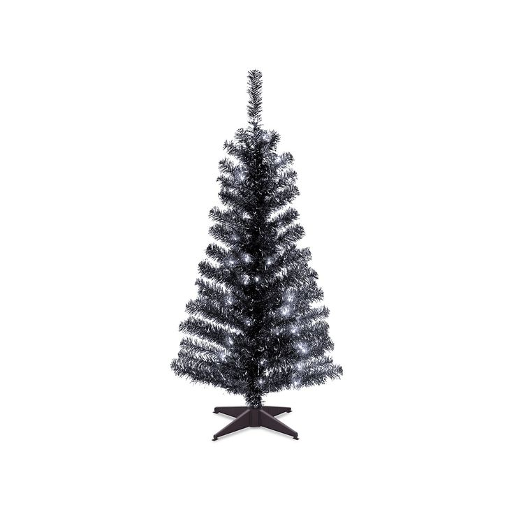 National Tree Company 4-ft. Pre-Lit Tinsel Artificial Christmas Tree Floor Decor, Black